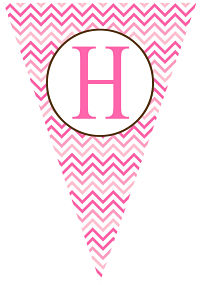 Banners - Multi-Shades of Pink Chevron Stripes (Pennant Shape)