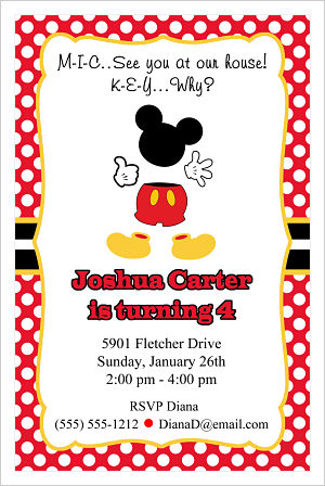 Kids Birthday Invitations-Mickey Mouse