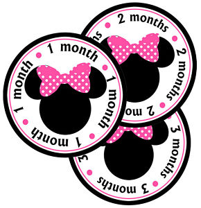 Baby Monthly Photo Stickers - Minnie Mouse (Pink Polka Dot Bow)