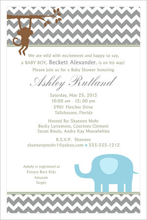 Baby Shower Invitations-Modern Jungle Animals