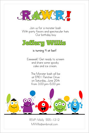 Kids Birthday Invitations-Monster Bash