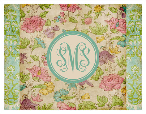 Note Cards - Antique Flowers with Monogram