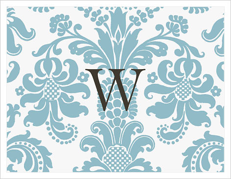 Note Cards - Beautiful Blue Damask (Option 2)