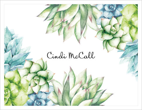 Note Cards - Beautiful Succulent (Name)