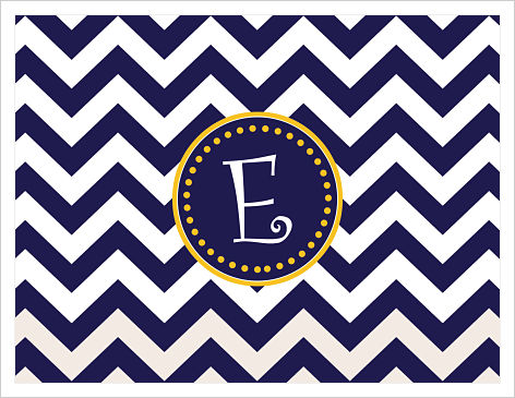 Note Cards - Big Chevron Stripes w/Fun Frame (Navy and Gold)