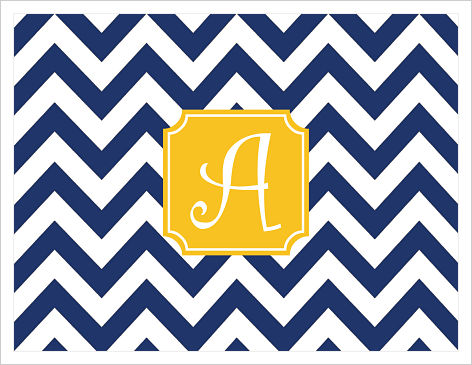 Note Cards - Big Chevron Stripes (Navy/White W/Gold Frame) - Option 1