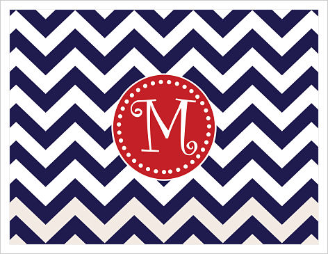 Note Cards - Big Chevron Stripes w/ Fun Frame (Navy and Red)