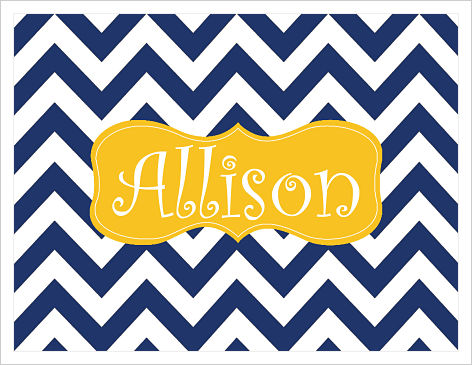 Note Cards - Big Chevron Stripes (Navy/White w/Gold Frame - Option 2