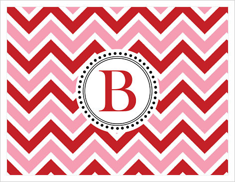 Note Cards - Big Chevron Stripes (Red & Pink) Initial or Monogram