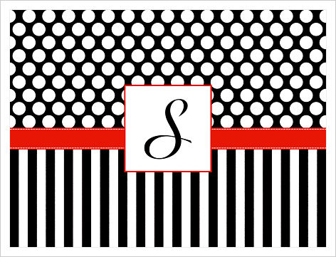 Note Cards - Black and White Polka Dots and Stripes