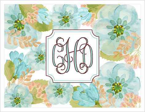 Note Cards - Blue and Gold Flowers With Fun Monogram