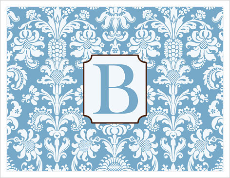 Note Cards - Blue and White Damask (Monogram or Initial)
