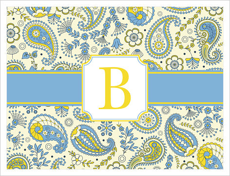 Note Cards - Blue and Yellow Paisley