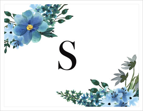 Note Cards - Blue Flowers Featuring An Initial