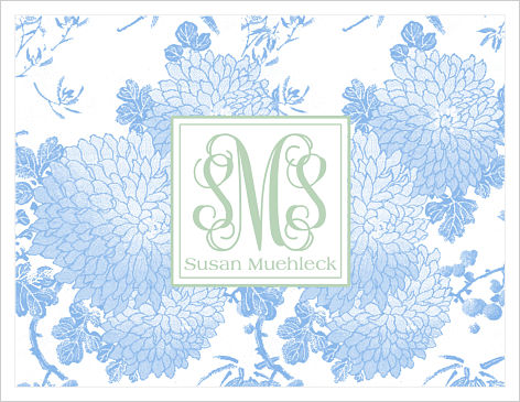 Note Cards - Blue Flowers w/Monogram/Name