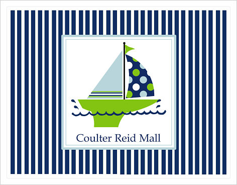 Note Cards - Blue and Green Sailboat