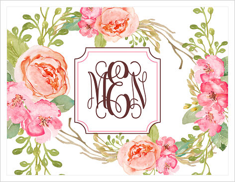 Note Cards - BoHo Bouquet Monogram