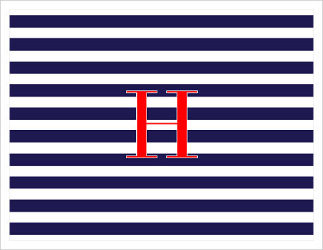 Note Cards - Bold Stripes (Navy, White) w/Red Initial