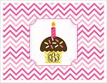 Note Cards - Chocolate Cupcake w/Monogram and Pink Chevron Stripes