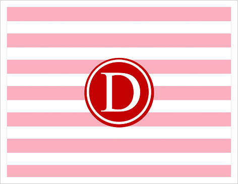 Note Cards - Colorful Fun Stripe (Pink and Red w/Initial)