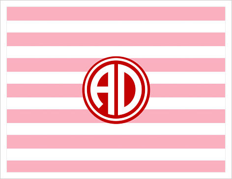 Note Cards - Colorful Fun Stripes (Pink and Red) W/Monogram