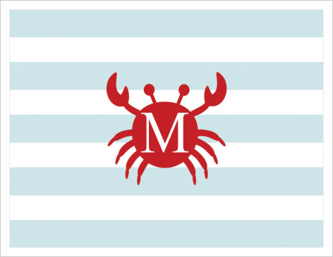 Note Cards - Crab Silhouette with Stripe Background  (Monogram or Initial)