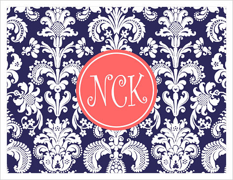 Note Cards - Damask (Navy and Coral w/Monogram)