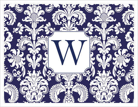 Note Cards - Damask (Name and White w/Initial)