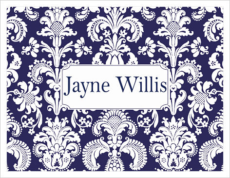 Note Cards - Damask (Navy White w/Name)