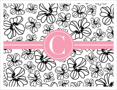 Note Cards - Doodle Flowers (Black, White, Pink with Initial or Monogram)