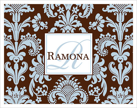 Note Cards - Elegant Blue and Brown Damask