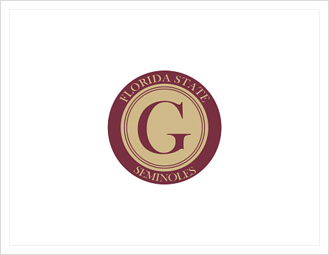 Note Cards - FSU Seminoles Badge  (With Initial)