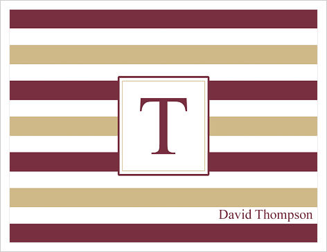 Note Cards - FSU Stripes (With Initial and Name)