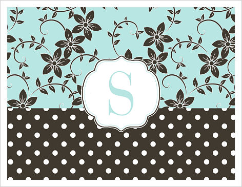 Note Cards - Flowers and Polka Dots