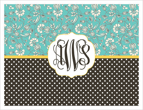 Note Cards - Flowers And Dots (Options 2 W/Monogram)