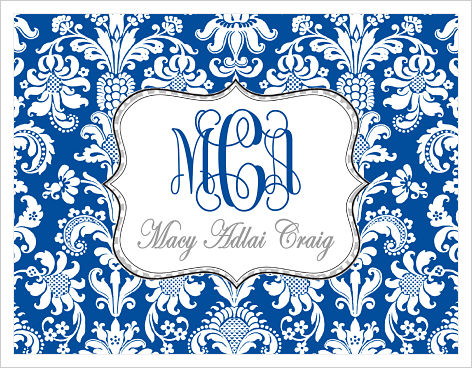 Note Cards - Fun Blue and White Damask w/Polka Dots