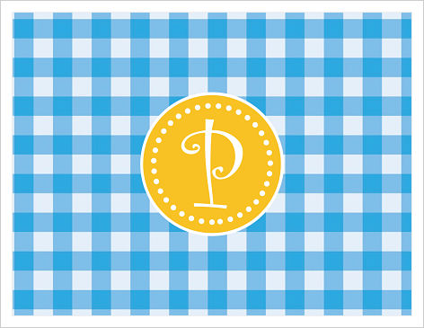Note Cards - Fun Blue and Gold Gingham  w/Initial or Monogram