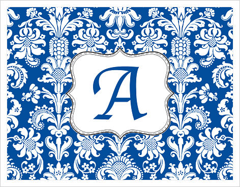 Note Cards - Fun Blue/White Damask w/Silver Polka Dot Frame