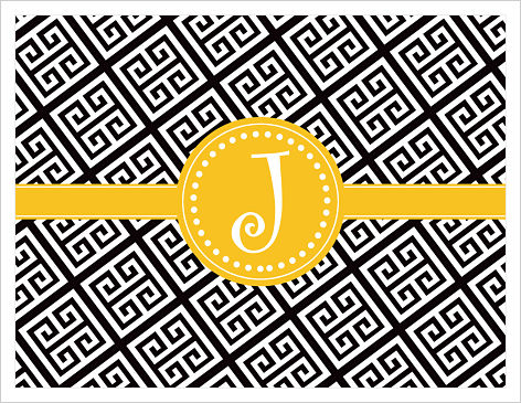 Note Cards - Fun Greek Key (Black and Gold) w/Initial or Monogram