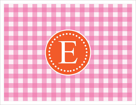 Note Cards - Fun Pink and Orange Gingham w/Initial or Monogram