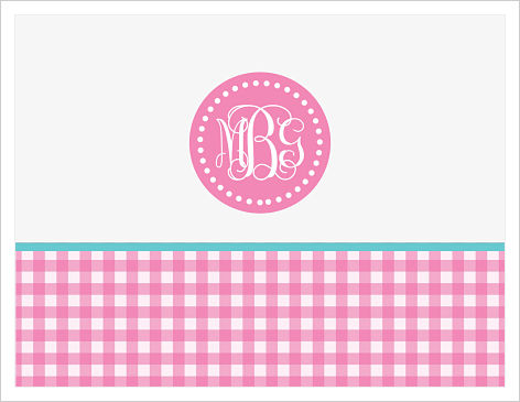 Note Cards - Fun Youthful Pink Gingham w/Initial or Monogram