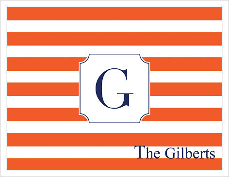 Note Cards - Gator Stripes (Orange and Navy) W/Initial or Monogram and Name