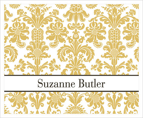 Note Cards - Gold Damask