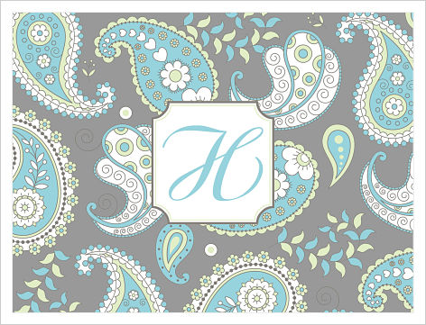 Note Cards - Gray and Blue Paisley