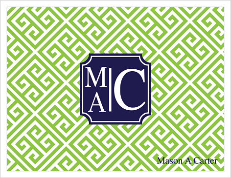 Note Cards - Geek Key (Green with Monogram)