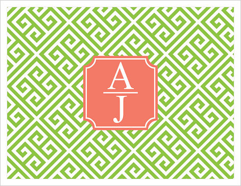 Note Cards - Greek Key (Green & Peach)