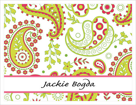 Note Cards - Green and Red Paisley