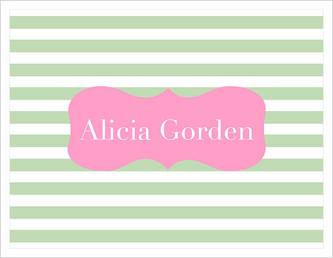 Note Cards - Green Stripes/Pink Frame