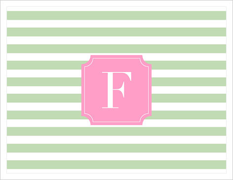 Note Cards - Green Stripes And Pink Frame (Option 2-Inital)
