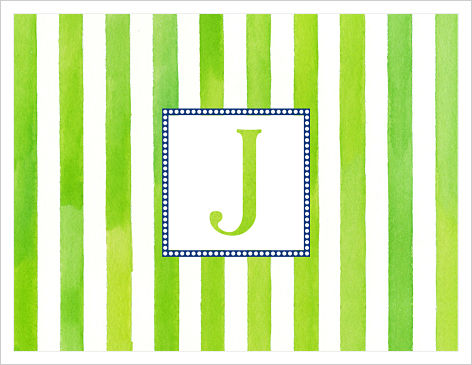 Note Cards - Green Watercolor Stripes